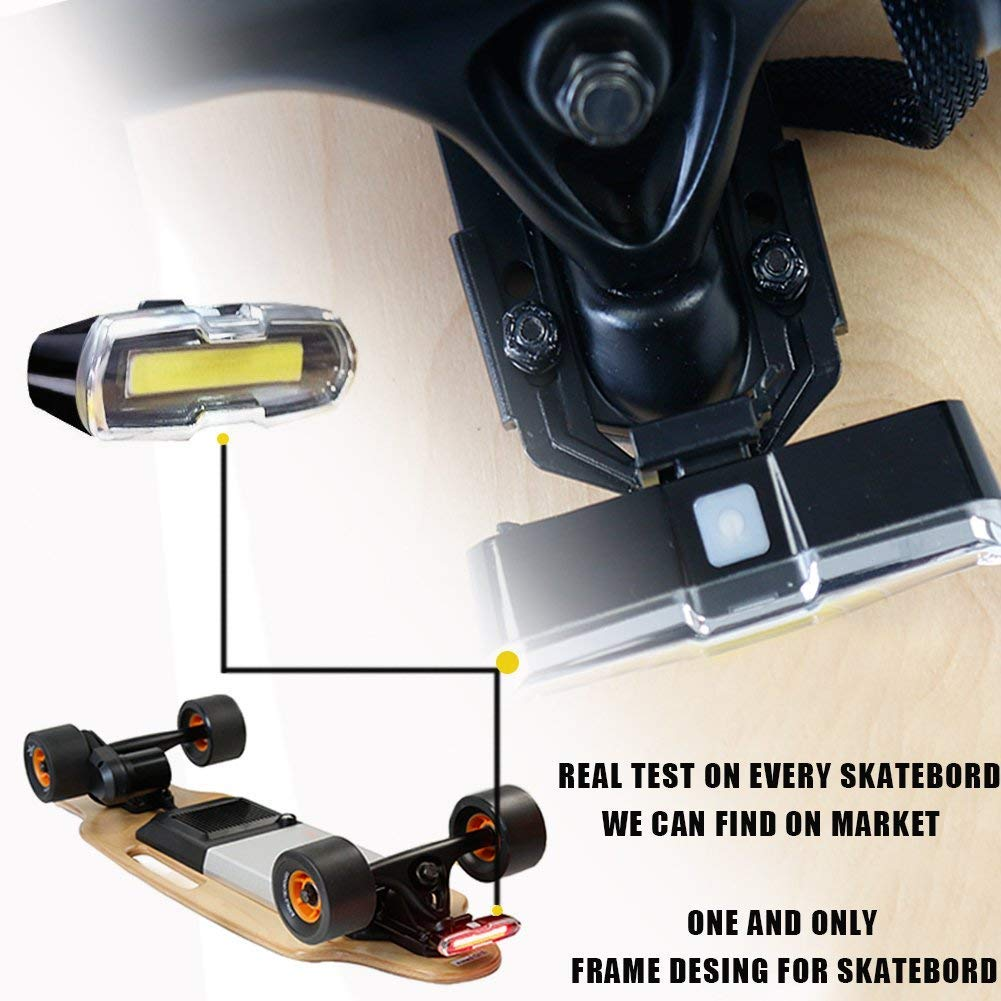 I-WONDER Skateboard Headlights and Taillights, USB Rechargeable Safe Lights, Waterproof LED Flashing Safety Rear Light, Easy to Install for Electric Longboard/Bikes/Helmets by I-WONDER (Image #6)