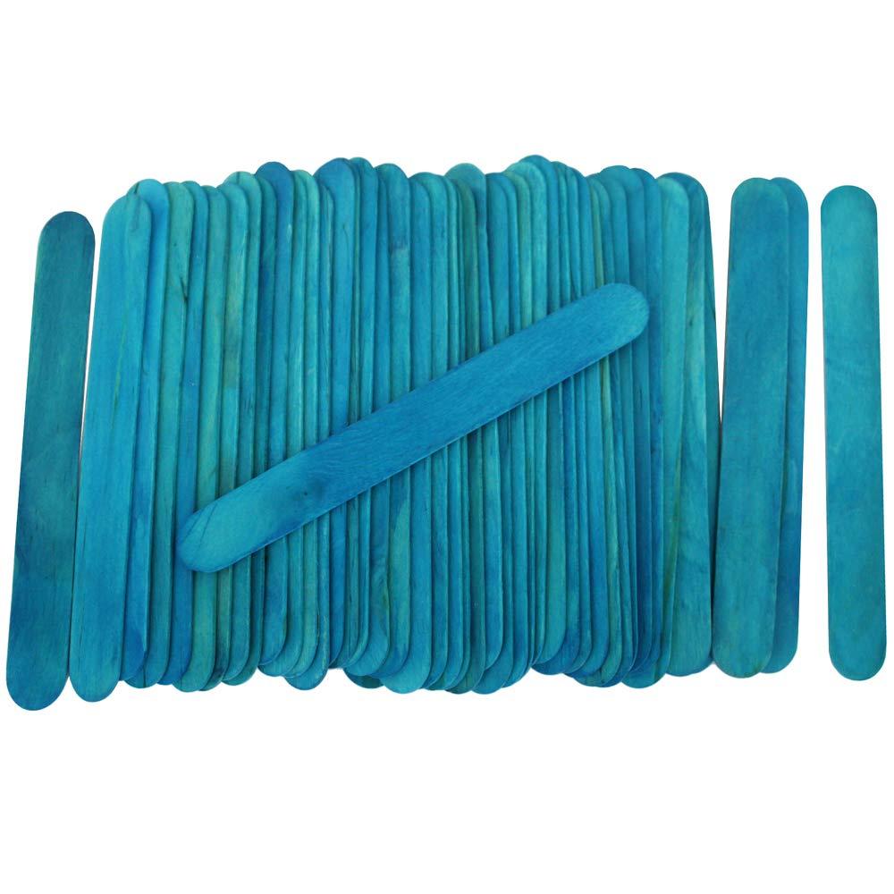 100 Wood Jumbo Craft Sticks Blue Color