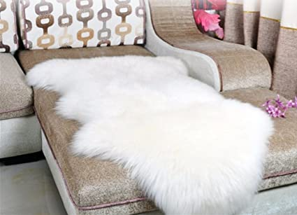 Dikoaina Classic Soft Faux Sheepskin Chair Cover Couch Stool Seat Shaggy  Area Rugs For Bedroom Sofa
