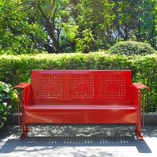 Outdoor Sofa Glider in Red Finish