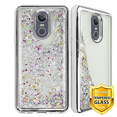 TJS LG Stylo 4 2018/LG Stylo 4 Plus/LG Q Stylus/LG Q Stylus Plus/LG Q Stylus Alpha Phone Case, [Full Coverage Tempered Glass Screen Protector] Glitter Liquid Chrome Bump Shockproof Motion (Silver)