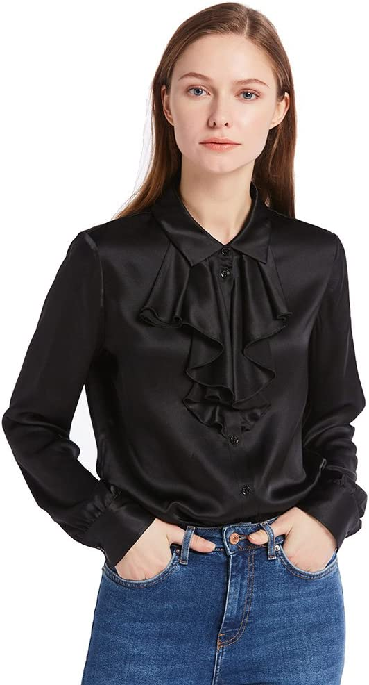 1930s Style Blouses, Shirts, Tops | Vintage Blouses LilySilk Silk Blouses for Women Cascade Collar Tie Long Sleeve Shirt 22 Momme Pure Charmeuse Silk $99.99 AT vintagedancer.com