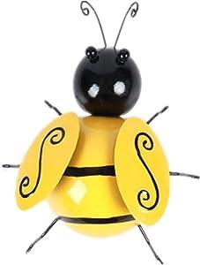 HTDBKDBK Metal Bumble Bee Decorations, Garden Accents Yard Fence 3D Iron Art Sculpture Ornaments,Nostalgia Decorative Lawn Bedroom Living Room Bumblebee Art Decoration (A-1PC-Small)