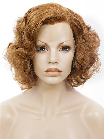 Imstyle corto Bob ondulado miel Rubio Marilyn Monroe peinado sintético peluca Lace Front Peluca
