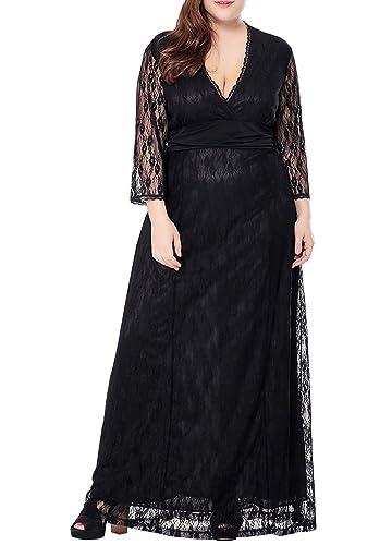 Wicky LS Women's Plus Size Lace Dress Screen Siren Maxi Dress Evening Gown