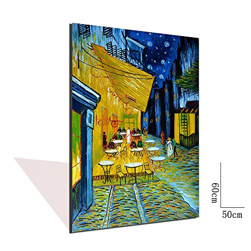 Asdam Art-(100% Handmade 3D)Vincent Van Gogh Cafe Terrace at Night Reproduction Oil Painting on Canvas Wall Art Wall Art Ready to Hang Pictures for Bedroom Kitchen Kitchen Home Decor (20x24inch)