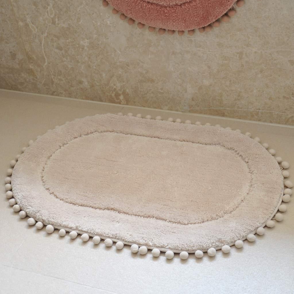 Li Li Zhao Household Absorbent Foot Pad Carpet Home Bathroom Doorway Oval Children's Non-Slip Mat 45x70 cm (17.7X 27.5 inch) -# (Color : Beige)