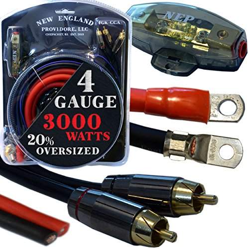 20 Foot 4 Gauge Amp Kit Featuring 20% Oversized Cables - Complete 12V Audio Amplifier Installation & Wiring - Amp Installation Kits