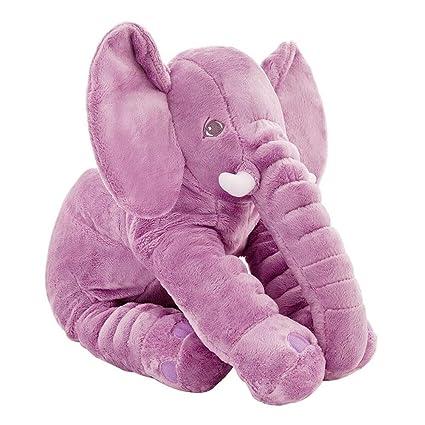 CTlite - Almohada de Peluche con Forma de Elefante para bebé, niña, niño, recién Nacido, Morado, 60 cm