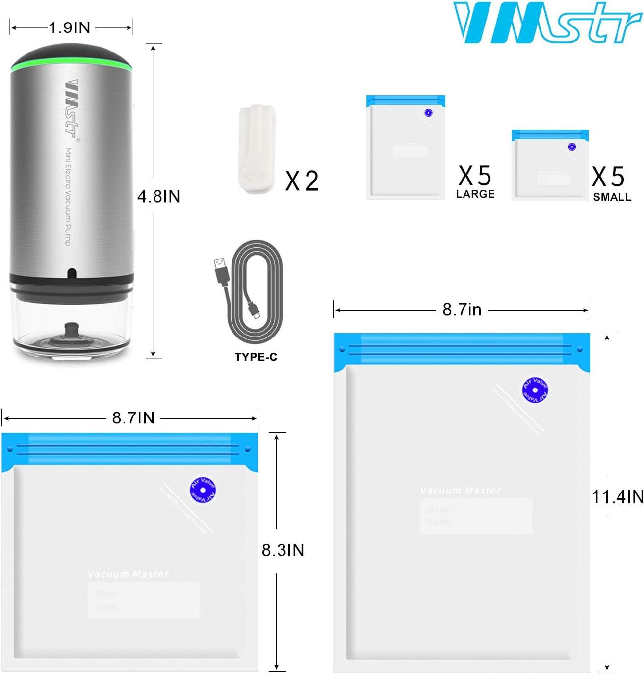 10 Count VMSTR 1-Quart BPA-Free Multilayer Construction Vacuum Zipper Bags