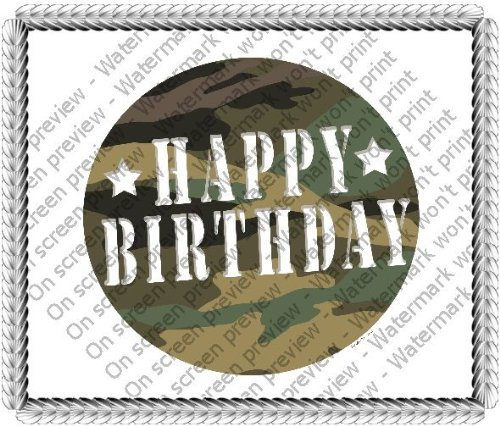 1/4 Sheet ~ Camo Happy Birthday Wording Birthday ~ Edible Image Cake/Cupcake Topper!!! -