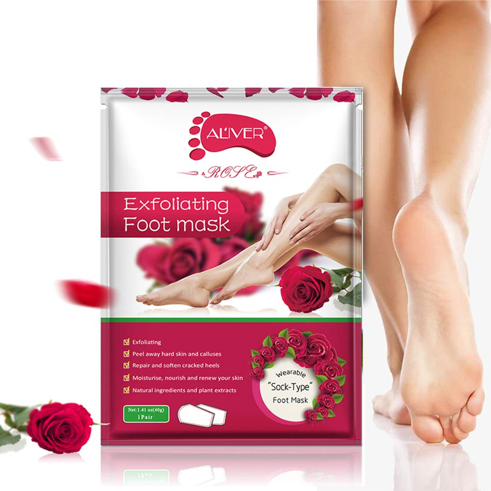 Foot Peeling Mask, Exfoliating Foot Peel Mask Callus Remover for Peeling Off Calluses and Dead Skin, Soft & Smooth Feet(Rose)