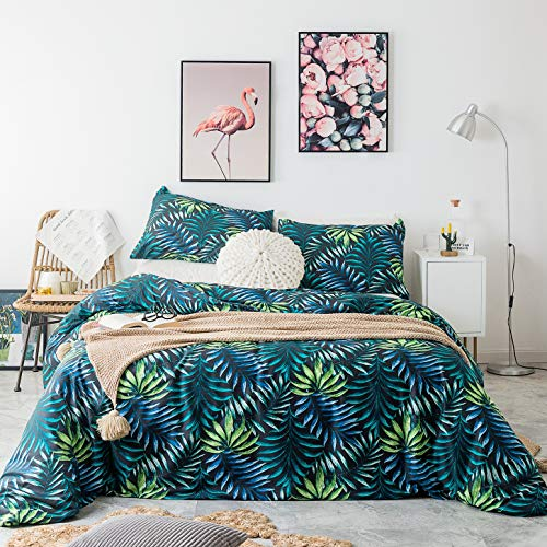 SUSYBAO 3 Piece Duvet Cover Set 100% Natural Cotton Queen Size Green Blue Jungle Leaves Bedding Set with Zipper Ties 1 Tropical Botanical Duvet Cover 2 Pillowcases Luxury Quality Soft Breathable