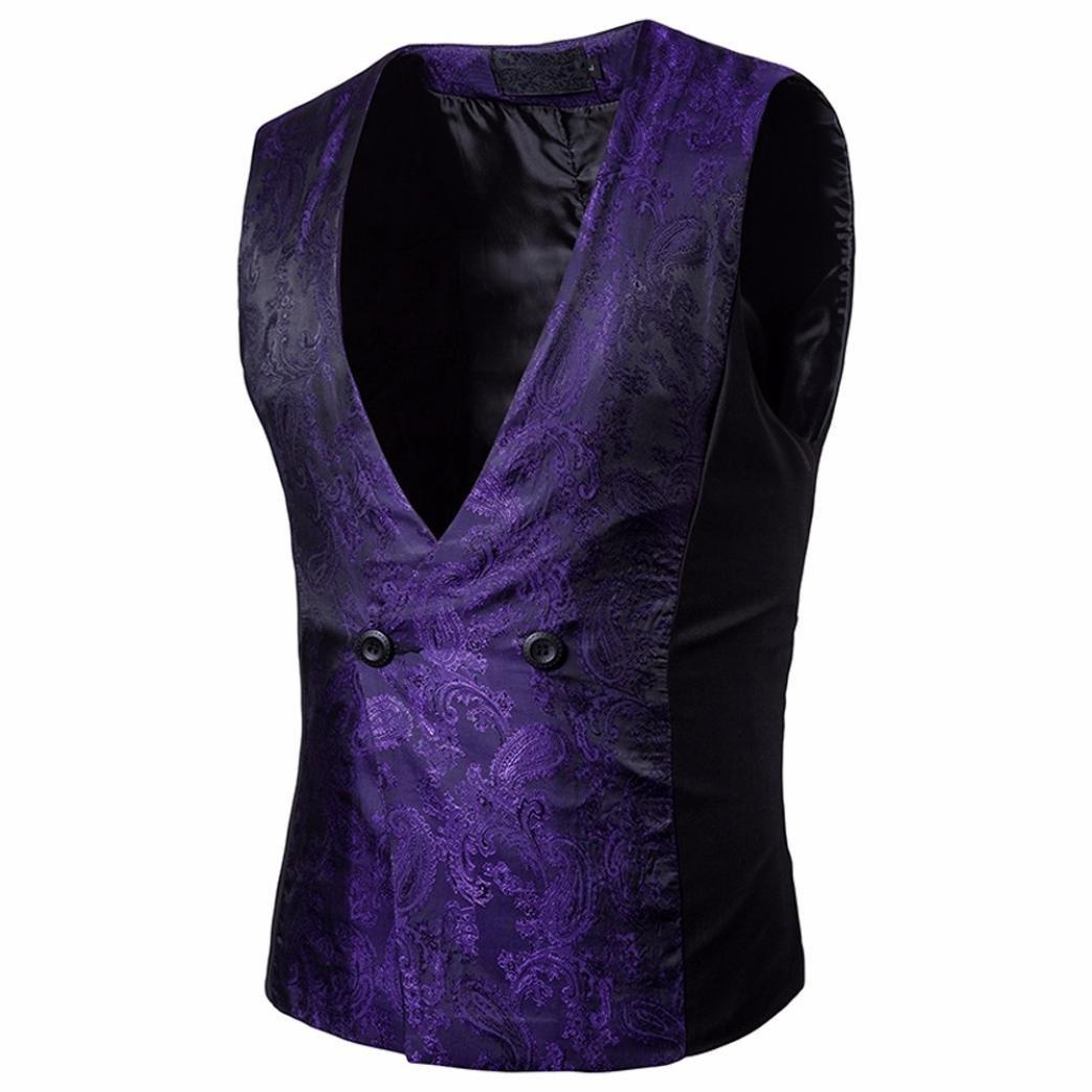 Easytoy Men's Vintage Formal Business Double Breasted Vest V-Neck Waistcoat (Purple, L)
