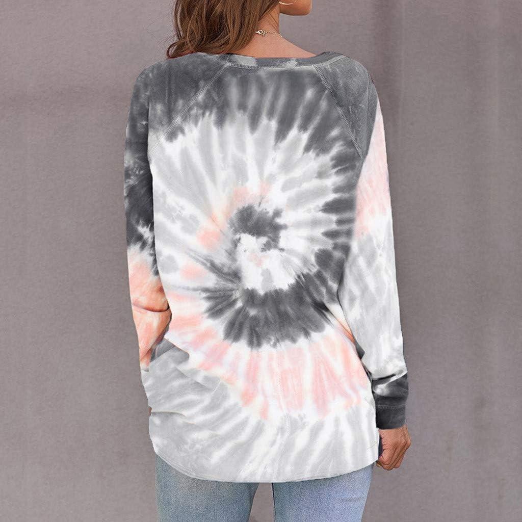 Meikosks Gradient Contrast Color Sweatshirt Womens Tie-dye Tunic Long Sleeve O-Neck Top
