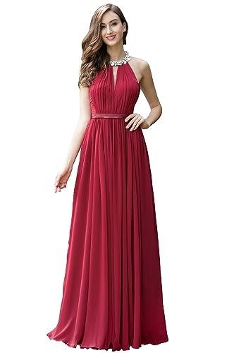8775c4dd4fec eDressit Burgundy Pleated Halter Formal Evening Dress Party Gown (00170317)  (12)  Amazon.co.uk  Clothing