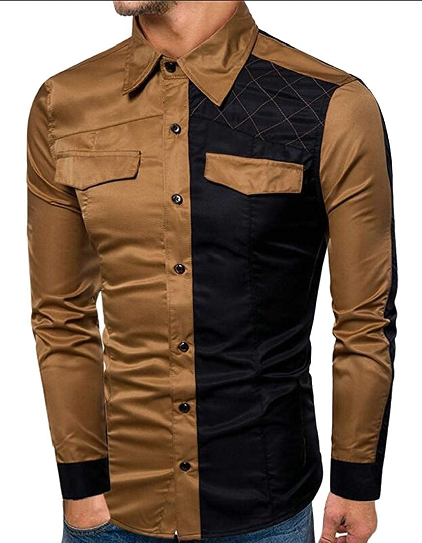 Generic Mens Military Slim Shirt Long Sleeve Button Down Dress Shirts