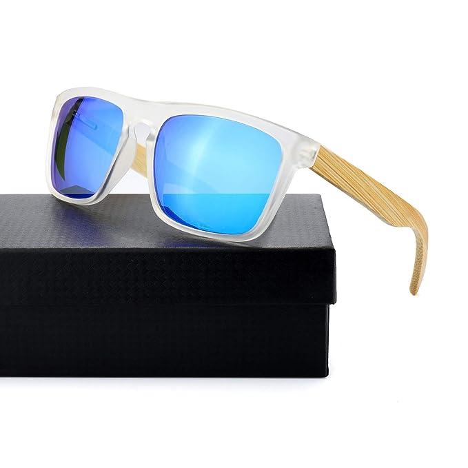 Bambú Gafas De Sol Hombre Polarizadas Espejo Gafas Decon Templo Madera para Conducir -100%