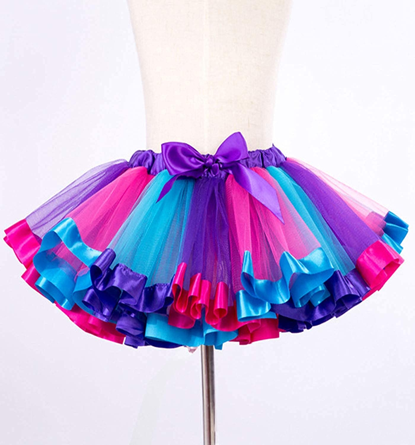 Adorel Girls Tutu Skirt Ruffly Full Party Danse Bow Clip