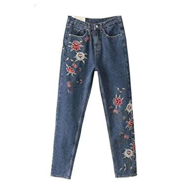 Women's Red Flower Embroidery Straight-leg Skinny Jeans Light Blue ...
