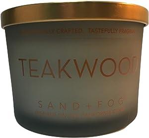 Sand + Fog Teakwood Scented Candle, Double Wick, Metal Lid, 12 oz