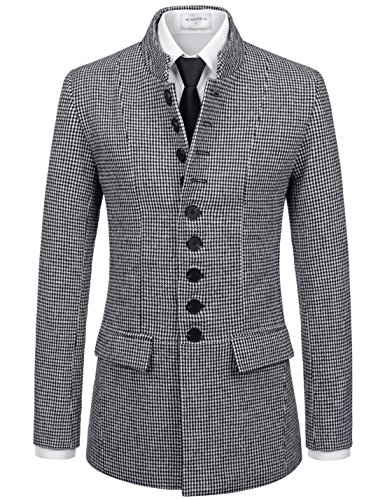 Blend Wool Ivory Jacket (NEARKIN (NKNKSC7021) Mens Chinese Collar Checker Napoleon Wool Blend Single Jacket Coat WHITEBLACK US XXL(Tag size 2XL))