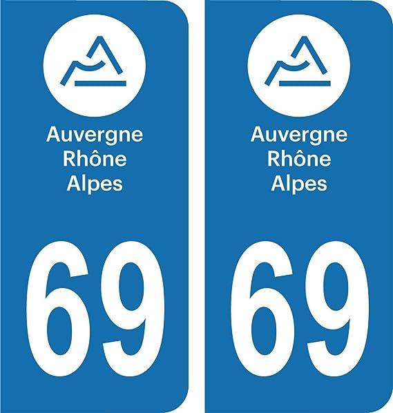 Auto Moto Caravane 10 Stickers Plaque Immatriculation du Rhône 69