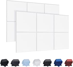 12 Pack Acoustic Panels, 12 X 12 X 0.4 Inches Studio Foam Sound Proof Padding, High Density Beveled Edge Soundproofing Insulation Absorption Panel, Acoustic Treatment for Home Office (White)
