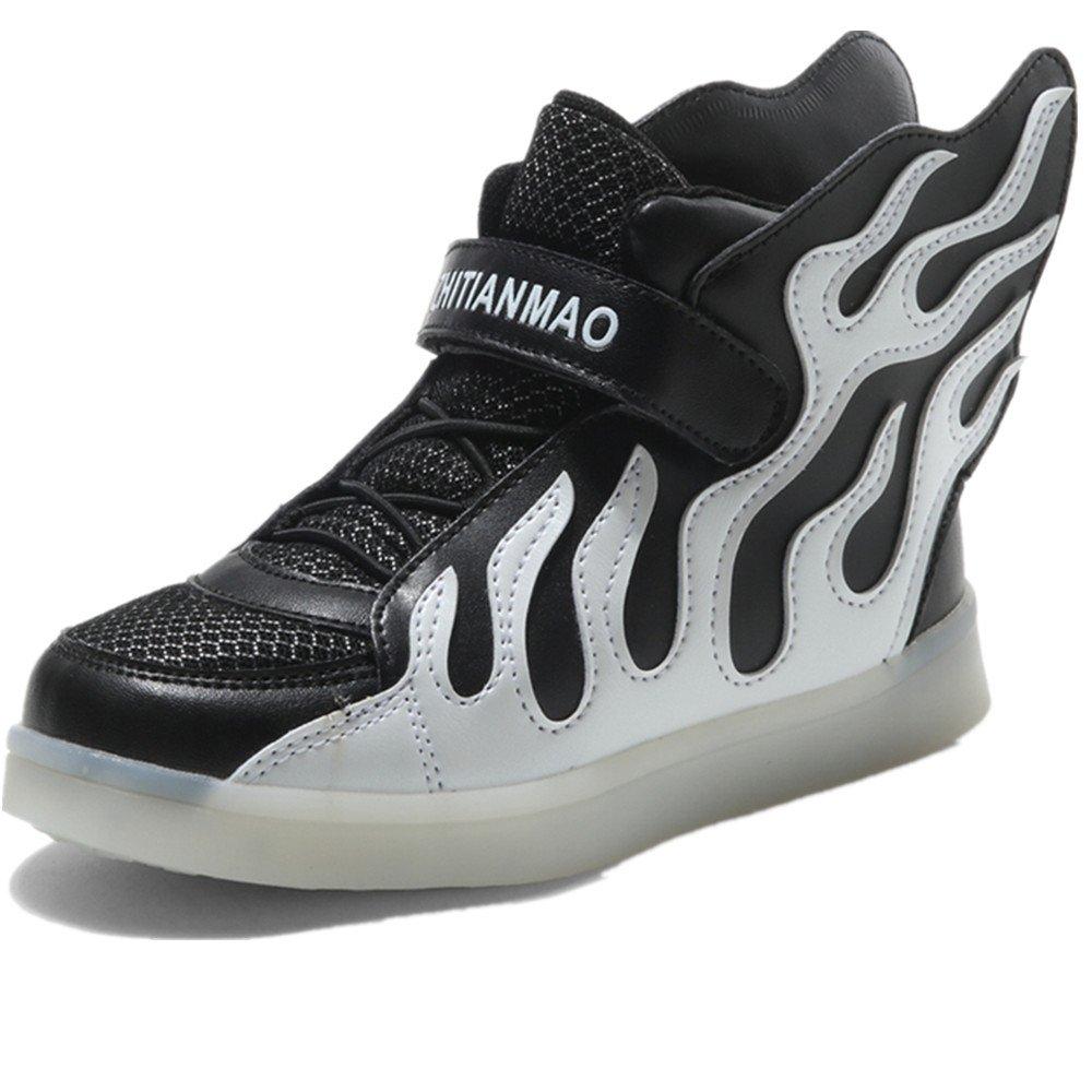 LED Light Up Shoes USB Flashing Sneakers for Kids Boys Girls (Black 1 M US Little Kid)