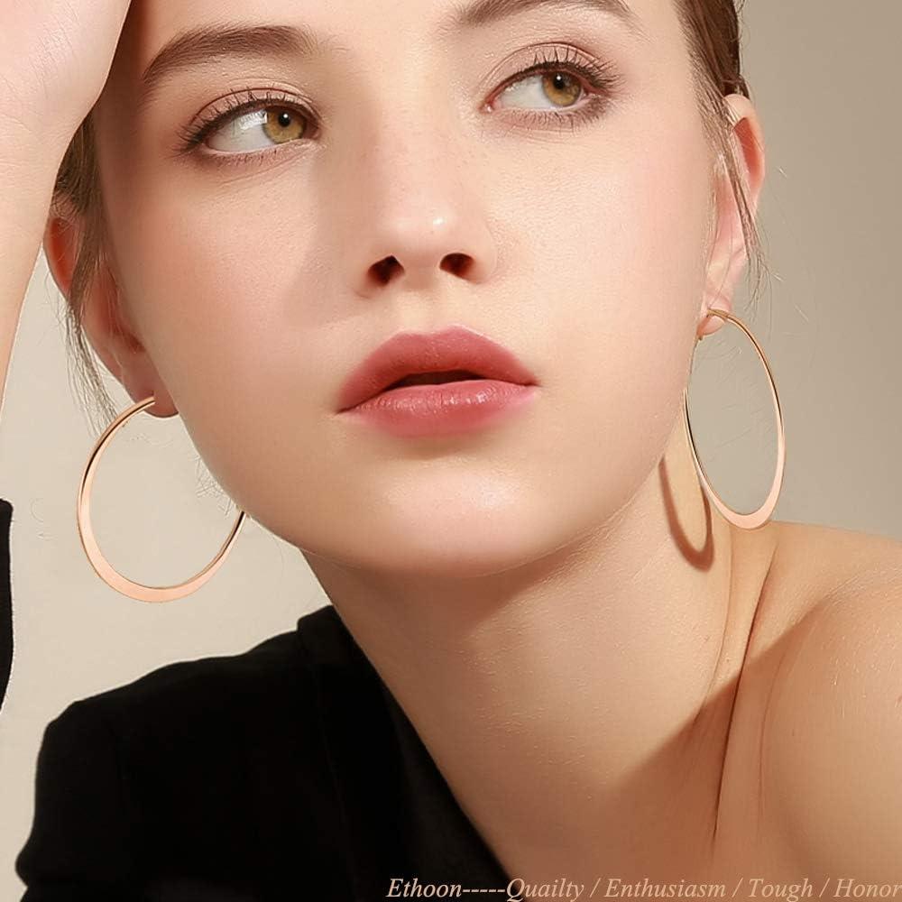 Flat Hoop Earrings 4 Pairs Hypoallergenic Big Round Earrings for Women Girls 50mm