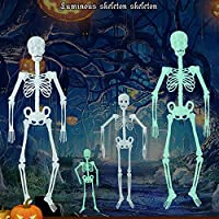 Clearance Sale!DEESEE(TM)30cm/90CM Luminous Skull Skeleton Body Scary Halloween Toy Haunted House Tricky Prop Halloween Toy For Halloween