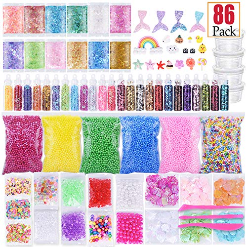 Slime Supplies Kit 86 Pack Slime Making Tools Fishbowl Beads, Foams Balls, Glitter Jar, Fruit Cake Slices, Pearls, Shell, Sugar Paper, Toys DIY Homemade Craft Kids Party Christmas Gift -