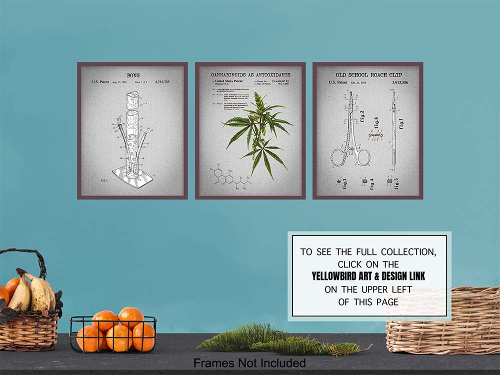 Marijuana Patent Wall Art Print Set - Vintage Home Decor For Bedroom,  Living Room, Den, Office, Man Cave - A Perfect Gift for Pot Smokers and  Cannabis