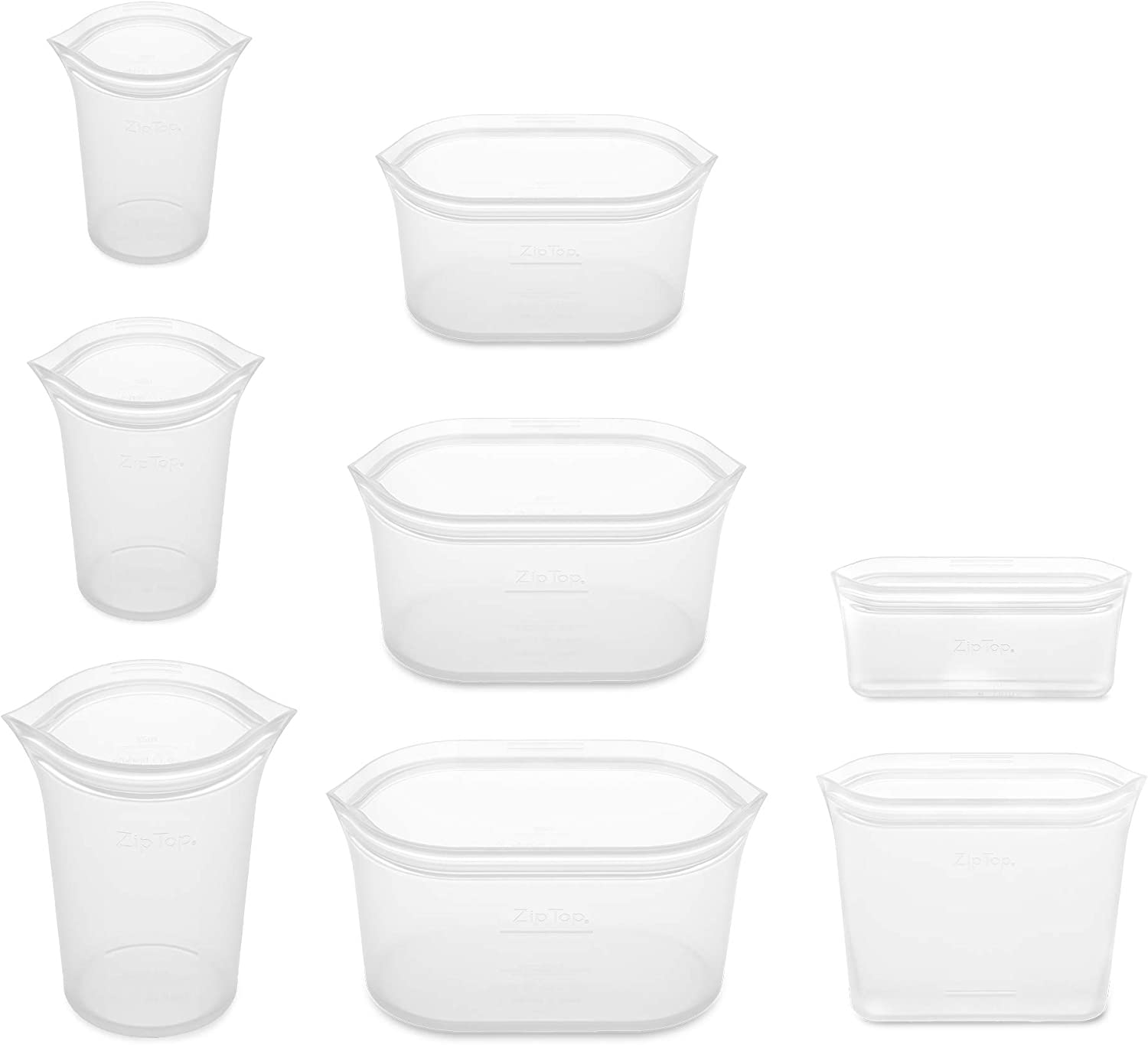 Zip Top Reusable 100% Silicone Food Storage Bags and Containers - Full Set- 3 Cups, 3 Dishes & 2 Bags - Frost