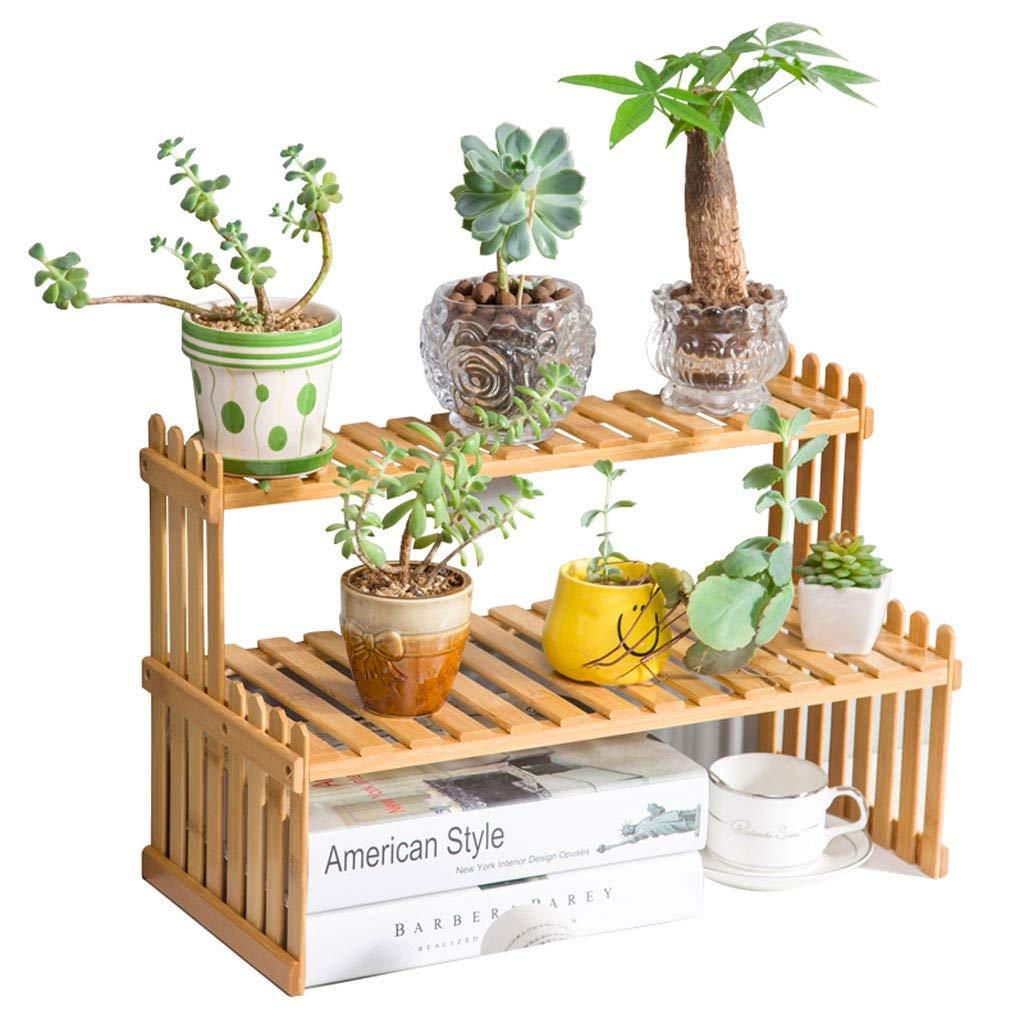 HUAJIA Bamboo Flower Stand Scaffale per Piante da Camera da Letto per balconi Interni con scaffali in Vaso Multi-Strato da Tavolo (Dimensioni   37  21  30cm)