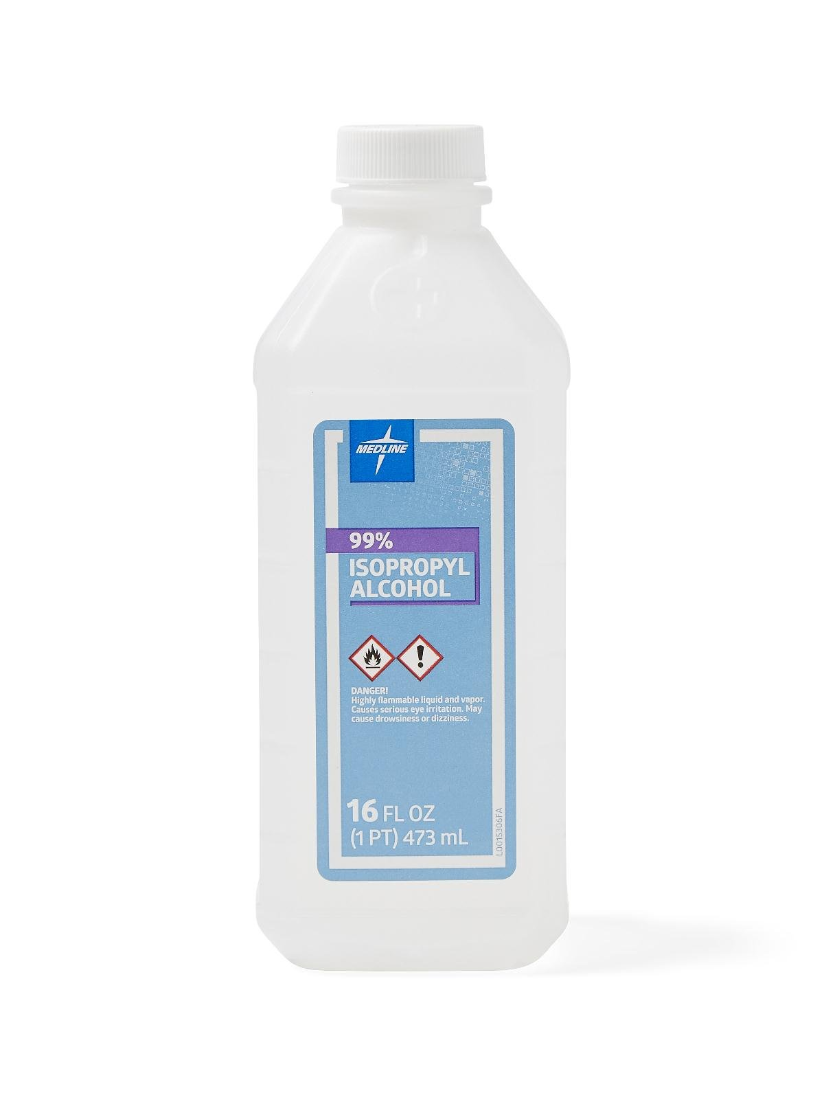 Medline MDS098013 Isopropyl Alcohol Antiseptic Solution, 99% Alcohol, 16 Ounces, (Case of 12) by Medline