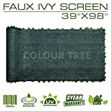 "ColourTree Artificial Hedges Faux Ivy Leaves Fence Privacy Screen Panels  Decorative Trellis - 39"" x 98"" - Mesh Backing - 3 Years Full Warranty"