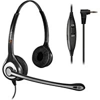Wantek Telephone Headset with 2.5mm Jack, Noise Cancelling Microphone & Volume Mute Controls, Wired Office Phone Headset for Panasonic AT&T RCA Vtech Polycom Cisco Uniden Cordless Dect Phones(C602P1)