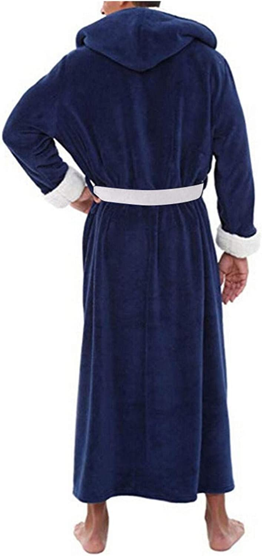 Mens Winter Plush Lengthened Shawl Bathrobe Home Clothes Long Sleeved Robe Coat Men Robe