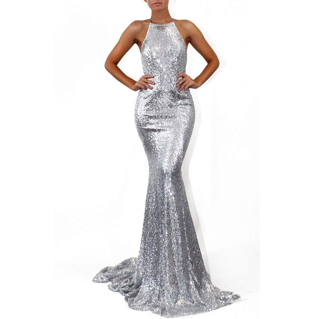 Bravetoshop Women Maxi Dresses Halter Evening Backless Cocktail Dress Ball Gown Party Dress(Silver,M)