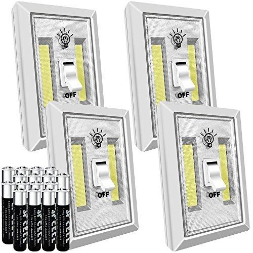 LED Night Light, Lovin Product Super Bright COB LED Night Light Switch; Battery Operated (Included), 200 Lumen, Self-Stick, Emergency LED Flashlight, Multi-Use for Closet, Kitchen, Hallways (4 PACK)