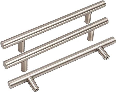Goldenwarm Cabinet Pulls Brushed Nickel Kitchen Door Handles Ls201bss115 Drawer Pull Knobs 4 5 Inch Kitchen Cabinets Handles 7in Length Dresser Drawer Pulls 15 Pack Amazon Com