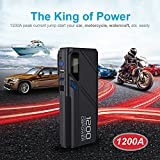 DBPOWER 1200A Peak Portable Car Jump Starter (for 6.5L Gas, 5.2L Diesel Engine and more), Car Battery Booster & Charger, Power Bank and Phone Charger with Built In LED Emergency Flashlight