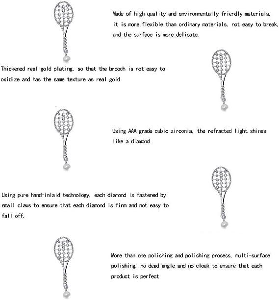 @Y.T Temperamento con Incrustaciones de zirc/ón Raqueta de Tenis Hombres y Mujeres Broche de Gama Alta Ropa de Mujer Broche Pin Femenino