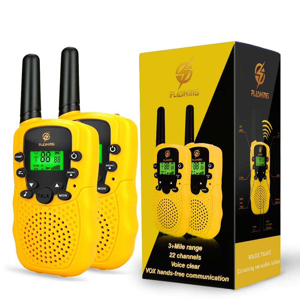 Dreamingbox Outside Kids Gifts Age 3-12, Long Range Two Way Radios Handheld Talkies Best Gifts for 3-12 Year Old Girls Boys Toys for 3-12 Year Old Boys Yellow TGUSSDDJ03