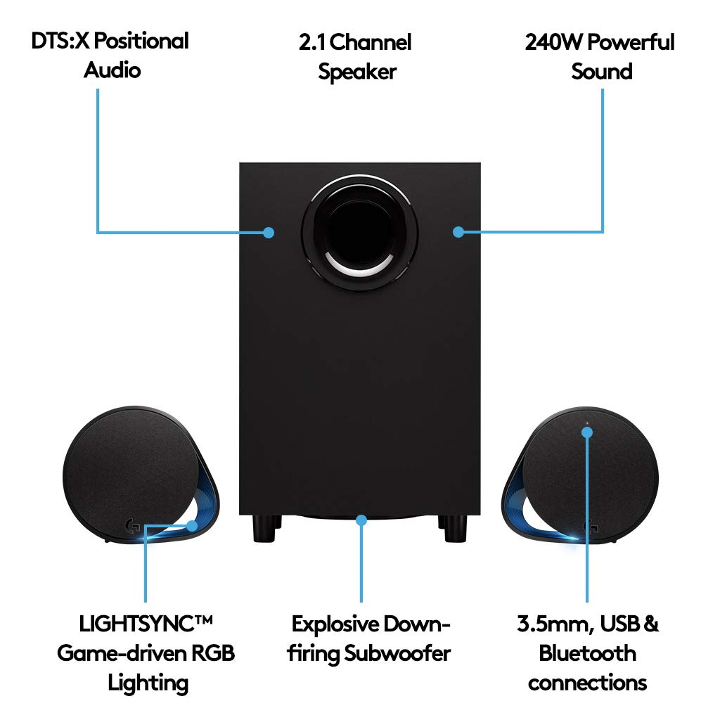 Logitech G560 LIGHTSYNC PC Gaming Speakers with Game Driven RGB Lighting by Logitech G (Image #4)