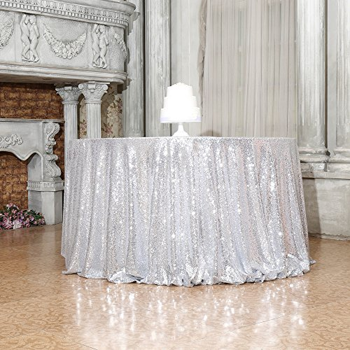 "PartyDelight Sequin Tablecloth, Round, 50"", Silver"