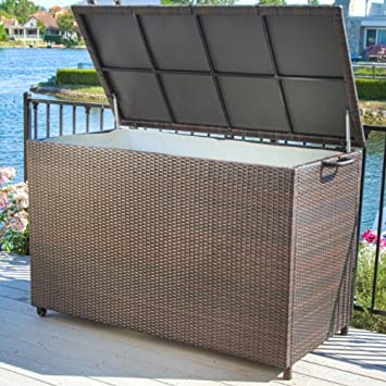 Superior Pool Supply Storage For Swimming Pool Accessories Brown Wicker Patio Storage  Box. This Weather Resistant