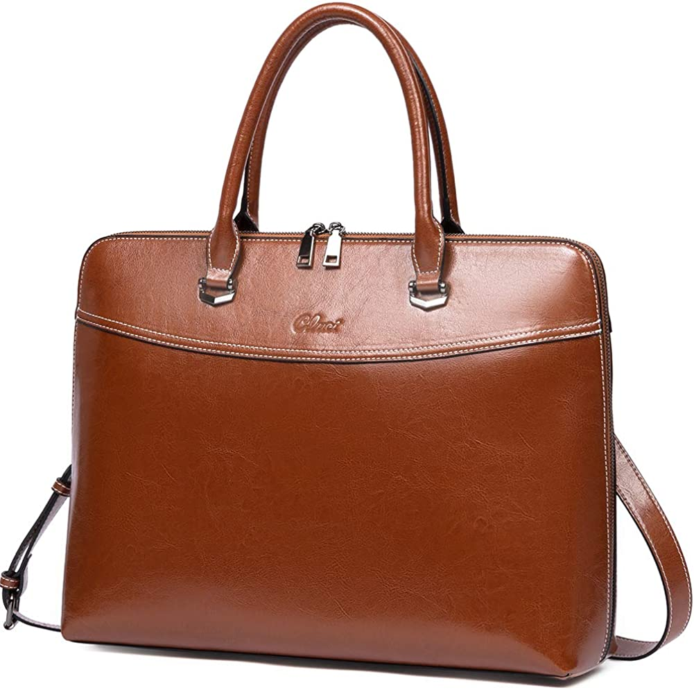 CLUCI Briefcase for Women Oil Wax Leather 15.6 Inch Laptop Business Vintage Slim Ladies Shoulder Bag