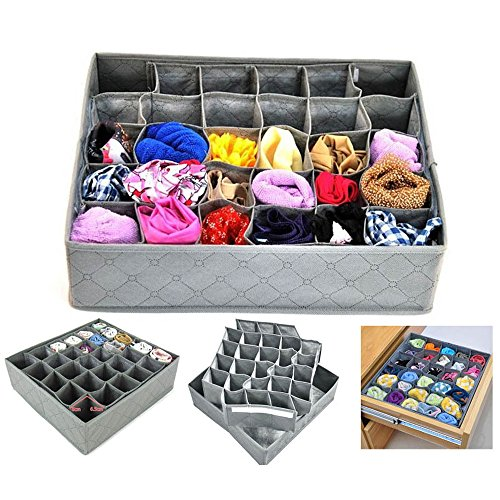Bedroom Wardrobe Closet Storage Organizer Box,Underwear Drawer Organizer Divider Containers,TOP-MAX 30 Slots Compartments Adjustable Under Bed Cloth Organizer Unit for Socks Ties Hanky Belt Bra Pantie